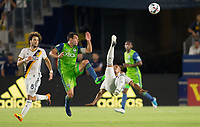 Carson, CA - Saturday July 29, 2017: Nicolas Ledeiro, Pele van Anholt during a Major League Soccer (MLS) game between the Los Angeles Galaxy and the Seattle Sounders FC at StubHub Center.