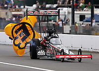 Aug. 3, 2013; Kent, WA, USA: NHRA top fuel dragster driver Steve Torrence during qualifying for the Northwest Nationals at Pacific Raceways. Mandatory Credit: Mark J. Rebilas-USA TODAY Sports