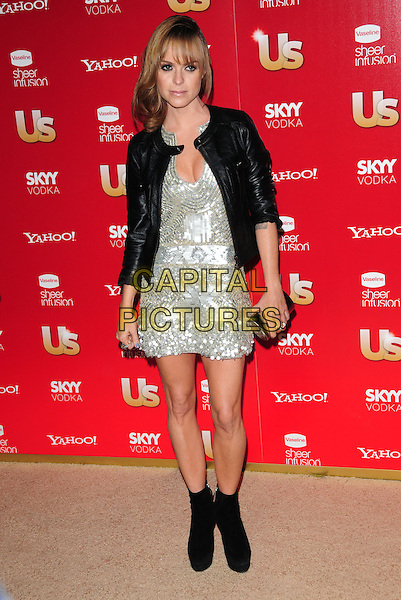 TARYN MANNING.US Weekly's Hot Hollywood Party 2009 held at Voyeur, West Hollywood, California, USA. .November 18th, 2009.full length black ankle boots leather jacket silver sequins sequined dress .CAP/RKE/DVS.©DVS/RockinExposures/Capital Pictures.