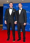 Journalist Thomas Roberts, left, and Patrick Abner, right,  arrive for the 2017 White House Correspondents Association Annual Dinner at the Washington Hilton Hotel on Saturday, April 29, 2017.<br /> Credit: Ron Sachs / CNP