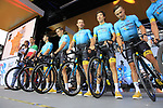 Astana Pro Team on stage at the Team Presentation in Burgplatz Dusseldorf before the 104th edition of the Tour de France 2017, Dusseldorf, Germany. 29th June 2017.<br /> Picture: Eoin Clarke | Cyclefile<br /> <br /> <br /> All photos usage must carry mandatory copyright credit (&copy; Cyclefile | Eoin Clarke)