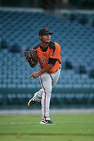 AZL Giants Orange starting pitcher Jesus Gomez (82) throws to first base during an Arizona League game against the AZL Cubs 1 on July 10, 2019 at Sloan Park in Mesa, Arizona. The AZL Giants Orange defeated the AZL Cubs 1 13-8. (Zachary Lucy/Four Seam Images)