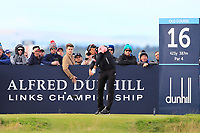 Rafa Cabrera Bello (ESP) on the 16th tee during Round 3 of the Alfred Dunhill Links Championship 2019 at St. Andrews Golf CLub, Fife, Scotland. 28/09/2019.<br /> Picture Thos Caffrey / Golffile.ie<br /> <br /> All photo usage must carry mandatory copyright credit (© Golffile | Thos Caffrey)