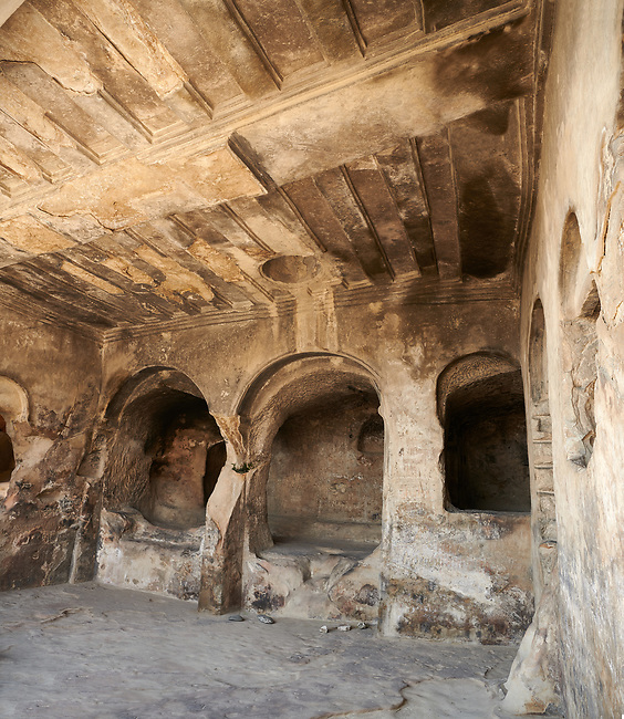 Picture & image of Queen Tamar's Hall interior, Uplistsikhe (Lords Fortress) troglodyte cave city, near Gori, Shida Kartli, Georgia. UNESCO World Heritage Tentative List<br /> <br /> Inhabited from the early Iron age to the late middle ages Uplistsikhe cave city eas, during the Roman & Hellenistic period, home to around 20,000 people.