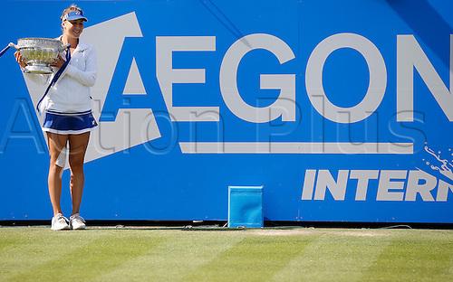 27.06.2015 Eastbourne, England. Aegon International Eastbourne Tennis Tournament Belinda Bencic (SUI) with trophy after wining her Women's singles final against Radwanska  at Devonshire park.