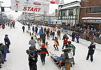 Saturday, March 3, 2012  Tom Thurston heads to the starting line on Fourth Avenue for the Ceremonial Start of Iditarod 2012 in Anchorage, Alaska.