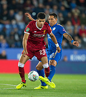 Dominic Solanke of Liverpool & Leonardo Ulloa of Leicester City during the football league cup Carabao Cup 3rd round match between Leicester City and Liverpool at the King Power Stadium, Leicester, England on 19 September 2017. Photo by Andy Rowland.