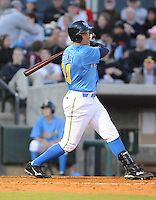 April 10, 2009: Infielder Stephen Shults (31) of the Myrtle Beach Pelicans, Class A affiliate of the Atlanta Braves, in a game against the Wilmington Blue Rocks at BB&T Coastal Field in Myrtle Beach, S.C. Photo by:  Tom Priddy/Four Seam Images