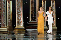 Greta Gerwig and Laura Dern present the Oscar&reg; for best documentary feature during the live ABC Telecast of The 90th Oscars&reg; at the Dolby&reg; Theatre in Hollywood, CA on Sunday, March 4, 2018.<br /> *Editorial Use Only*<br /> CAP/PLF/AMPAS<br /> Supplied by Capital Pictures