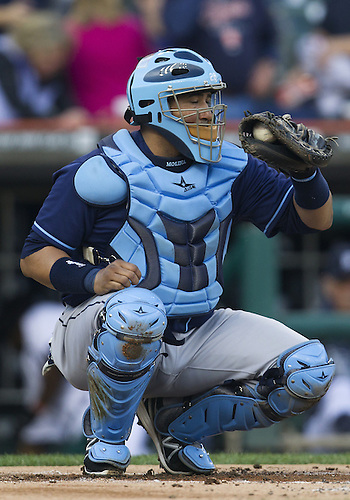 June 04, 2013:  Tampa Bay Rays catcher Jose Molina (28) during MLB game action between the Tampa Bay Rays and the Detroit Tigers at Comerica Park in Detroit, Michigan.  The Tigers defeated the Rays 10-1.