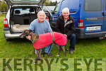 "l-r  Moss Jones, Scartaglin and Dan O'Connor, Cordal with ""His Lady Liew"" at the Abbeydorney Coursing on Sunday"