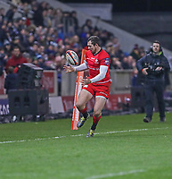 7th February 2020; AJ Bell Stadium, Salford, Lancashire, England; Premiership Cup Rugby, Sale Sharks versus Saracens; Alex Goode of Saracens fumbles the ball near the touch line