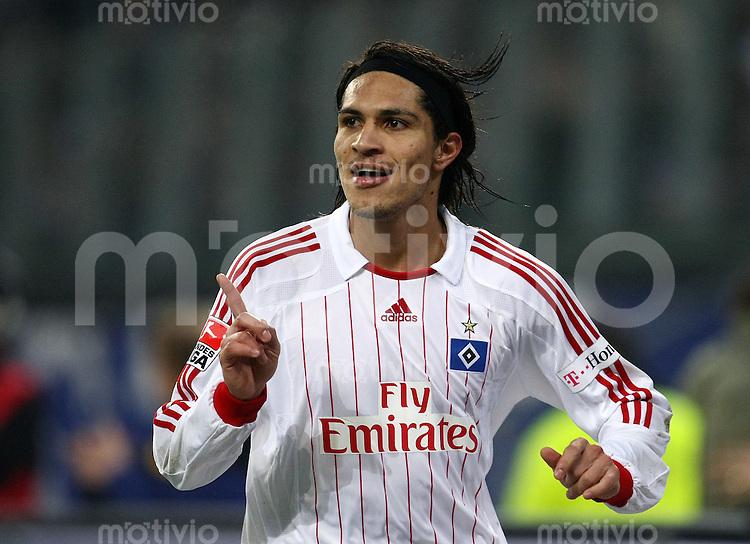 FUSSBALL     1. BUNDESLIGA     SAISON 2007/2008   22. SPIELTAG Hamburger SV - Eintracht Frankfurt                          02.03.2008 Paolo GUERRERO (Hamburg) bejubelt seinen Treffer zum 3:1