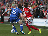 Fleetwood Town's Devante Cole and Oldham Athletic's George Edmundson<br /> <br /> Photographer Stephen White/CameraSport<br /> <br /> The EFL Sky Bet League One - Fleetwood Town v Oldham Athletic - Saturday 9th September 2017 - Highbury Stadium - Fleetwood<br /> <br /> World Copyright &copy; 2017 CameraSport. All rights reserved. 43 Linden Ave. Countesthorpe. Leicester. England. LE8 5PG - Tel: +44 (0) 116 277 4147 - admin@camerasport.com - www.camerasport.com