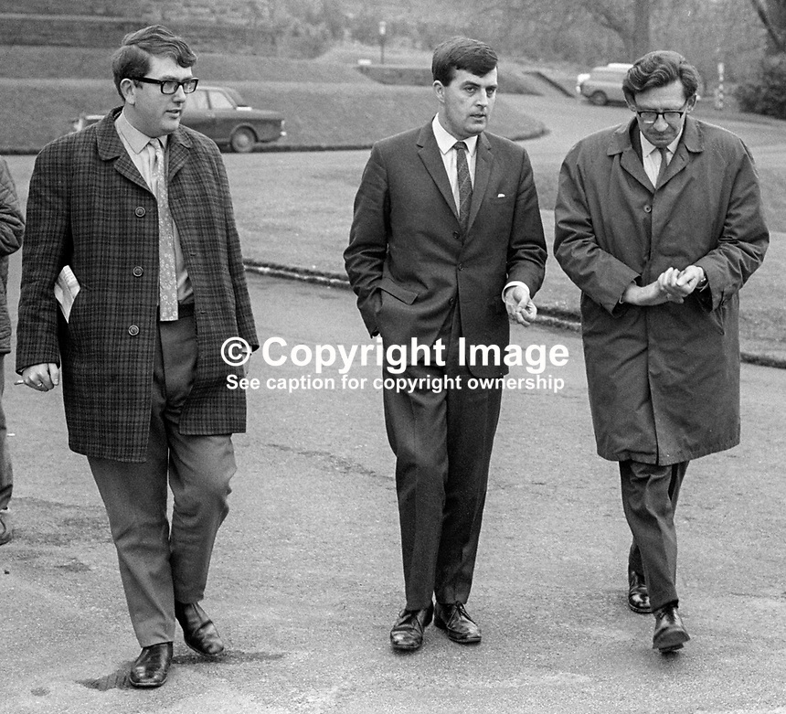 John D Taylor, MP, Ulster Unionist, N Ireland Parliament, centre, briefing local journalists, Bob Hamilton, left, and Alan Reid, BBC, right, outside Stormont Castle, Belfast, 196904000162JT2<br /> <br /> Copyright Image from Victor Patterson,<br /> 54 Dorchester Park, <br /> Belfast, UK, BT9 6RJ<br /> <br /> t1: +44 28 9066 1296 (from Rep of Ireland 048 90661296)<br /> t2: +44 28 9002 2446 (from Rep of Ireland 048 9002 2446)<br /> <br /> m: +44 7802 353836<br /> <br /> e: victorpatterson@me.com<br /> www.victorpatterson.com<br /> <br /> Please see my Terms and Conditions of Use at www.victorpatterson.com. It is IMPORTANT that you familiarise yourself with them.<br /> <br /> Images used on the Internet must be visibly watermarked i.e. &copy; Victor Patterson<br /> within the body of the image and copyright metadata must not be deleted. Images <br /> used on the Internet have a size restriction of 4kbs and will be chargeable at current<br />  NUJ rates unless agreed otherwise.<br /> <br /> This image is only available for the use of the download recipient i.e. television station, newspaper, magazine, book publisher, etc, and must not be passed on to any third <br /> party. It is also downloaded on condition that each and every usage is notified within 7 days to victorpatterson@me.com<br /> <br /> The right of Victor Patterson to be identified as the author is asserted in accordance with The Copyright Designs And Patents Act (1988). All moral rights are asserted
