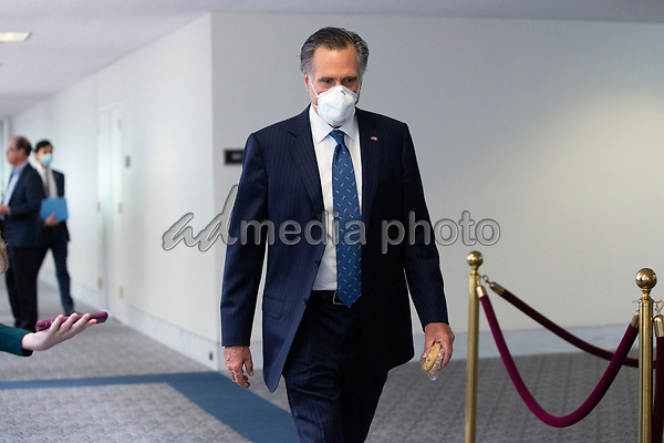 United States Senator Mitt Romney (Republican of Utah) leaves the GOP Policy Luncheons at the Hart Senate Office Building in Washington D.C., U.S. on Thursday, May 21, 2020.  Credit: Stefani Reynolds / CNP/AdMedia