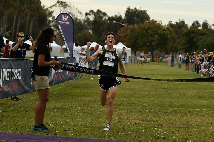 October 28, 2016; San Diego, CA, USA; San Francisco Dons runner Alex Short (179) during the WCC Cross Country Championships at Tecolote Shores Park.