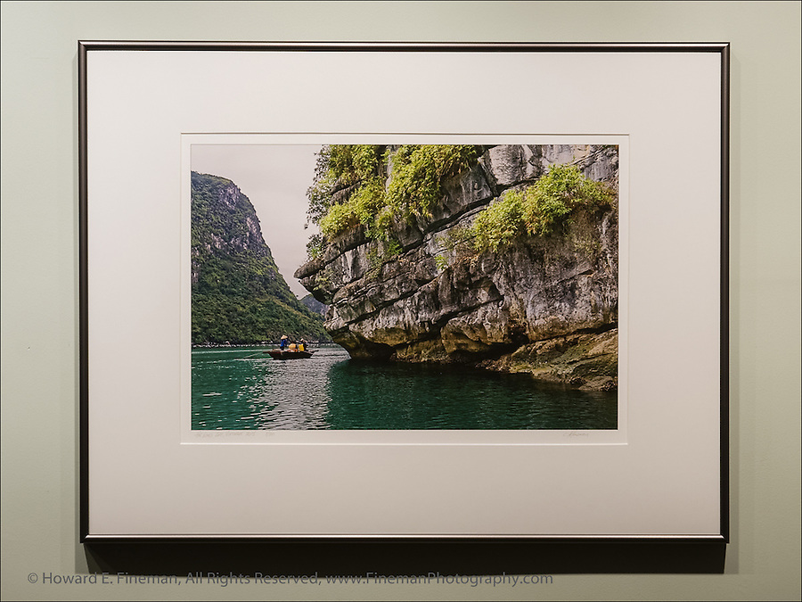 "Ha Long Bay in Gulf of Tonkin, Vietnam, near floating village of fishermen. This print was selected for the Newton Open Studios ""Invitational"" showcasing work of artists who previously received top juror awards."