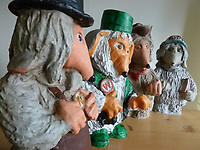 BNPS.co.uk (01202 558833)<br /> Pic: GillSeyfang/BNPS<br /> <br /> Four Garden Wombles from a paint your own kit in the 1970's<br /> <br /> An environmentalist is selling the world's biggest Womble collection after the famous furry creatures inspired her to save the planet as a child.<br /> <br /> Gill Seyfang, a senior lecturer in Sustainable Consumption at the University of East Anglia, owns over 1,700 items relating the furry creatures.<br /> <br /> Her vast collection ranges from soft toys to rubbish bins and was recognised by the Guinness Book of Records in 2016.<br /> <br /> Ms Seyfang, from Norwich, Norfolk, began amassing the group in the 1970s and it has continued to grow ever since.