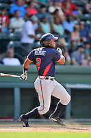 Designated hitter Darien McLemore (2) of the Rome Braves bats in a game against the Greenville Drive on Sunday, July 31, 2016, at Fluor Field at the West End in Greenville, South Carolina. Rome won, 6-3. (Tom Priddy/Four Seam Images)