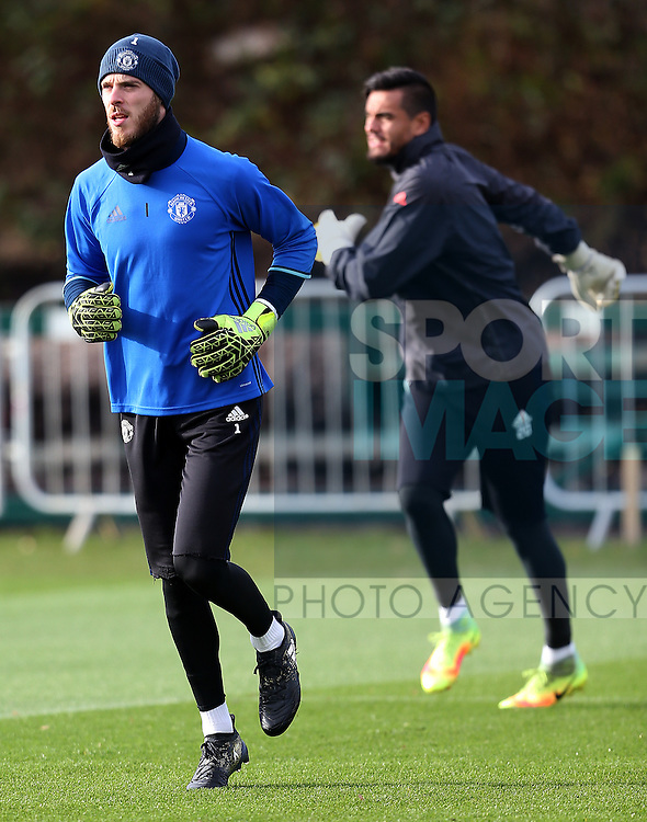 David De Gea of Manchester United with Sergio Romero during the UEFA Europa League training session at the AON Training Complex, Manchester. Picture date: November 23rd 2016. Pic Matt McNulty/Sportimage