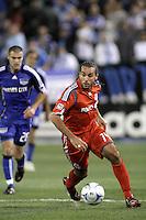 Dwayne De Rosario dribbles the ball. Toronto FC defeated Kansas City Wizards 3-2 at Community America Ballpark, Kansas City, Kansas on March 21, 2009.