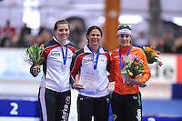 SCHAATSEN: ERFURT: Gunda Niemann Stirnemann Eishalle, 22-03-2015, ISU World Cup Final 2014/2015, Podium 1000m Ladies, Heather Richardson (USA), Brittany Bowe (USA), Marrit Leenstra (NED), ©foto Martin de Jong