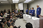 April 13, 2011, Tokyo, Japan - Masataka Shimizu, president of Tokyo Electric Power Co., speaks at a news conference at its head office in Tokyo on Wednesday, April 13, 2011. Shimizu apologized on behalf of the company, which operates the crippled Fukushima No.1 nuclear power plant, for causing concern at home and abroad after the Japanese government on Tuesday raised its assessment of the month-long nuclear crisis from 5 to 7, the highest on an international scale. Shimizu said the company is considering offering provisional compensation payments to meet the immediate needs of people affected by the plant accident. (Photo by Natsuki Sakai/AFLO) [3615] -mis-