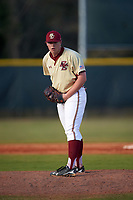 Boston College Eagles relief pitcher Sean Hughes (29) delivers a pitch during a game against the Central Michigan Chippewas on March 8, 2016 at North Charlotte Regional Park in Port Charlotte, Florida.  Boston College defeated Central Michigan 9-3.  (Mike Janes/Four Seam Images)