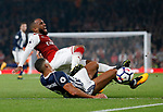 Arsenal's Alexandre Lacazette gets tackled by West Brom's Jake Livermore during the premier league match at the Emirates Stadium, London. Picture date 25th September 2017. Picture credit should read: David Klein/Sportimage
