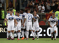 Calcio, Serie A: Roma - Atalanta, Stadio Olimpico, 27 agosto, 2018.<br /> Atalanta's Emiliano Rigoni celebrates after scoring with his teammates during the Italian Serie A football match between Roma and Atalanta at Roma's Stadio Olimpico, August 27, 2018.<br /> UPDATE IMAGES PRESS/Isabella Bonotto