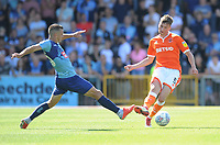 Blackpool's Paudie O'Connor under pressure from Wycombe Wanderers' Matt Bloomfield<br /> <br /> Photographer Kevin Barnes/CameraSport<br /> <br /> The EFL Sky Bet League One - Wycombe Wanderers v Blackpool - Saturday 4th August 2018 - Adams Park - Wycombe<br /> <br /> World Copyright &copy; 2018 CameraSport. All rights reserved. 43 Linden Ave. Countesthorpe. Leicester. England. LE8 5PG - Tel: +44 (0) 116 277 4147 - admin@camerasport.com - www.camerasport.com