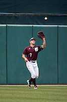 Jacob Robson (7) of the Mississippi State Bulldogs catches a fly ball during a game against the Southern California Trojans at Dedeaux Field on March 5, 2016 in Los Angeles, California. Mississippi State defeated Southern California , 8-7. (Larry Goren/Four Seam Images)