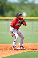 GCL Twins second baseman Ricky De La Torre (70) waits to receive a throw during the first game of a doubleheader against the GCL Rays on July 18, 2017 at Charlotte Sports Park in Port Charlotte, Florida.  GCL Twins defeated the GCL Rays 11-5 in a continuation of a game that was suspended on July 17th at CenturyLink Sports Complex in Fort Myers, Florida due to inclement weather.  (Mike Janes/Four Seam Images)