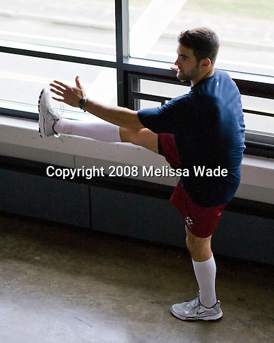 Nick Petrecki (US White - 9) - Members of US Team White warmup on the concourse of the 1980 Rink prior to their game against the Swedes on Friday, August 8, 2008, during the 2008 US National Junior Evaluation Camp and Summer Hockey Challenge in Lake Placid, New York.
