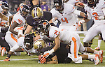 Washington Huskies wide receiver Cody Burns recovers a fumble in the end zone against the Oregon State Beavers at CenturyLink Field in Seattle, Washington on October 27, 2012.  The Huskies upset the 7th ranked Beavers 20-17.  ©2012. Jim Bryant Photo. ALL RIGHTS RESERVED.