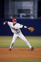 Fort Myers Miracle shortstop Nelson Molina (23) throws to first base during a game against the Tampa Yankees on April 12, 2017 at George M. Steinbrenner Field in Tampa, Florida.  Tampa defeated Fort Myers 3-2.  (Mike Janes/Four Seam Images)