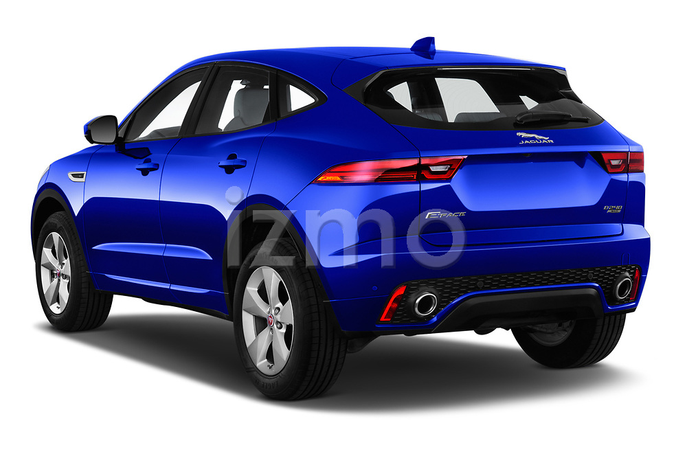 Car pictures of rear three quarter view of a 2018 Jaguar E Pace R Dynamic 5 Door SUV angular rear
