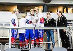 Stockholm 2015-03-13 Bandy SM-final herrar Sandvikens AIK - V&auml;ster&aring;s SK :  <br /> Karebys Emma Kronberg jublar med lagkamrater efter matchen mellan Sandvikens AIK och V&auml;ster&aring;s SK <br /> (Foto: Kenta J&ouml;nsson)<br /> Nyckelord:  SM SM-final final Bandyfinal Bandyfinalen Dam Damer Dambandy AIK Kareby IS jubel gl&auml;dje lycka glad happy