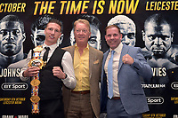 Sam Bowen (L), Frank Warren and Carl Greaves during a Press Conference at the Landmark London Hotel on 2nd August 2018
