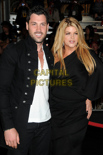 "MAKSIM CHMERKOVSKIY & KIRSTIE ALLEY.""Pirates Of The Caribbean: On Stranger Tides"" World Premiere held at Disneyland, Anaheim, California, USA..May 7th, 2011.half length black jacket white one shoulder dress beard facial hair .CAP/ADM/BP.©Byron Purvis/AdMedia/Capital Pictures."