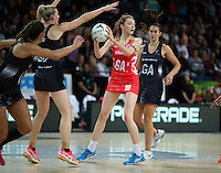 27.08.2016 England's Helen Housey in action during the Netball Quad Series match between teh Silver Ferns and England at Vector Arena in Auckland. Mandatory Photo Credit ©Michael Bradley.