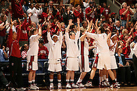 19 March 2007: Rosalyn Gold-Onwude, Christy Titchenal, Markisha Coleman, Clare Bodensteiner, Michelle Harrison, Morgan Clyburn and Melanie Murphy during Stanford's 68-61 second round loss to Florida State in the NCAA women's basketball tournament at Maples Pavilion in Stanford, CA.