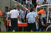 Neymar of Brazil is stretchered off the field with an injury