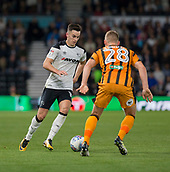 8th September 2017, Pride Park Stadium, Derby, England; EFL Championship football, Derby County versus Hull City; Tom Lawrence of Derby County on the ball watched closely by Stephen Kingsley of Hull City