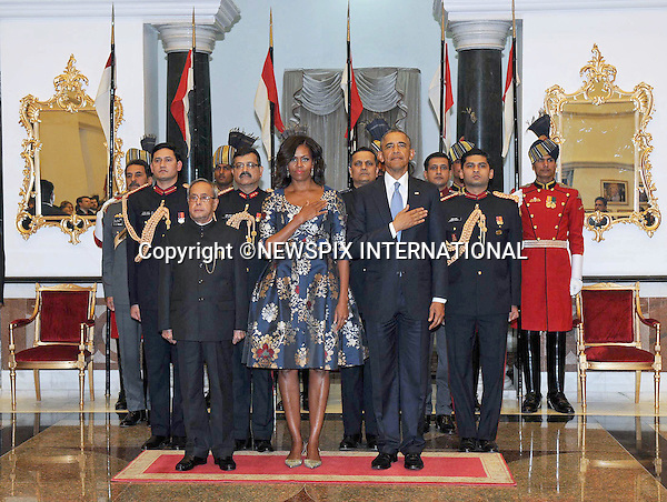 26.01.2015; New Delhi, India: MICHELLE OBAMA LOOKS BORED<br /> First Lady Michelle Obama looked bored for most part of the visit of the President's to India.<br /> It could be the fact that the Indians seem to give prominence to men, with women being relegated to the second tier or the cancelling of the visit the Taj Mahal due to a visit to Saudi Arabia being scheduled, that could be the cause.<br /> There was no doubt of the former with the attention afforded the President, with Prime Minister Modi looking like a cheshire cat for most of the visit. <br /> She definitely was not her usual bubbly self.<br /> Michelle was accompanying husband President Barack Obama who was the Chief Guest of the 66th Republic Day celebrations, to the banquet hosted by President Pranab Mukherjee at Rashtrapati Bhavan.<br /> The American President is on a three-day visit to India.<br /> Mandatory Credit Photos: NEWSPIX INTERNATIONAL<br /> <br /> **ALL FEES PAYABLE TO: &quot;NEWSPIX INTERNATIONAL&quot;**<br /> <br /> PHOTO CREDIT MANDATORY!!: NEWSPIX INTERNATIONAL(Failure to credit will incur a surcharge of 100% of reproduction fees)<br /> <br /> IMMEDIATE CONFIRMATION OF USAGE REQUIRED:<br /> Newspix International, 31 Chinnery Hill, Bishop's Stortford, ENGLAND CM23 3PS<br /> Tel:+441279 324672  ; Fax: +441279656877<br /> Mobile:  0777568 1153<br /> e-mail: info@newspixinternational.co.uk