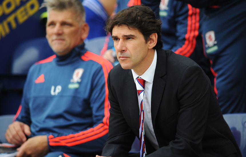 Middlesbrough manager Aitor Karanka before kick-off<br /> <br /> Photographer Kevin Barnes/CameraSport<br /> <br /> Football - The Football League Sky Bet Championship - Preston North End v Middlesbrough -  Sunday 9th August 2015 - Deepdale - Preston<br /> <br /> &copy; CameraSport - 43 Linden Ave. Countesthorpe. Leicester. England. LE8 5PG - Tel: +44 (0) 116 277 4147 - admin@camerasport.com - www.camerasport.com