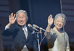 January 2, 3014, Tokyo, Japan - Japan's Emperor Akihito and Empress Michiko wave to thousands of flag-waving well-wishers from the Imperial Palace balcony during a general audience in Tokyo on Thursday, January 2, 2014. More than 80,000 well-wishers turned out to celebrate the coming of the new year with the imprerial family who made five appearances on the palace balcony.  (Photo by Kaku Kurita/AFLO) FYJ -mis-