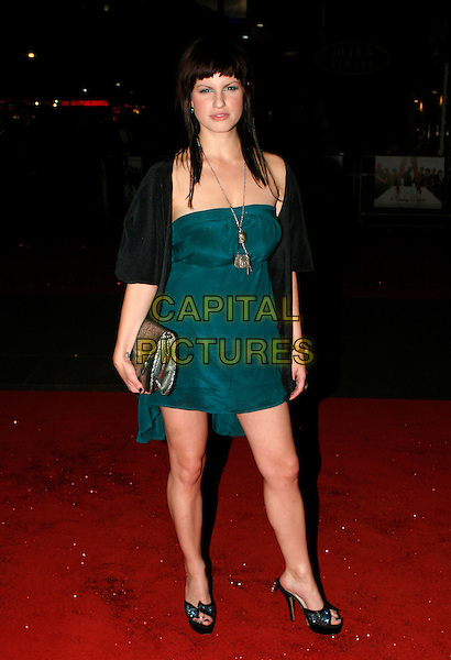 "JEMIMA ROOPER.UK Premiere of ""Kinky Boots"" at the Vue West End, Leicester Square, London..October 4th, 2005.full length blue green dress strapless clutch purse .www.capitalpictures.com.sales@capitalpictures.com.© Capital Pictures."