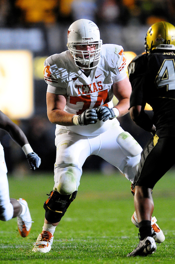 04 October 2008: Texas tackle Adam Ulatoski blocks against Colorado. The Texas Longhorns defeated the Colorado Buffaloes 38-14 at Folsom Field in Boulder, Colorado. For Editorial Use Only